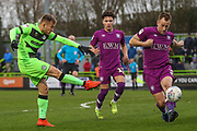 Forest Green Rovers George Williams(11) shoots at goal during the EFL Sky Bet League 2 match between Forest Green Rovers and Carlisle United at the New Lawn, Forest Green, United Kingdom on 16 March 2019.