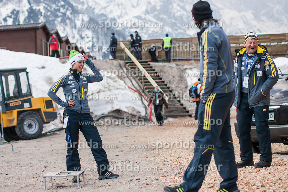 Vtic Maja, head coach Bercic Joze & asist coach Primoz Peterka of Slovenia during Large Hill Individual Event at 3nd day of FIS Ski Jumping World Cup Finals Planica 2014, on March 22, 2014 in Planica, Slovenia. Photo by Grega Valancic / Sportida