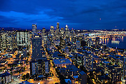 The city lights of Seattle, Washington