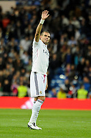 Real Madrid´s Pepe thank's the supporters during 2014-15 La Liga match between Real Madrid and Malaga at Santiago Bernabeu stadium in Madrid, Spain. April 18, 2015. (ALTERPHOTOS/Luis Fernandez)