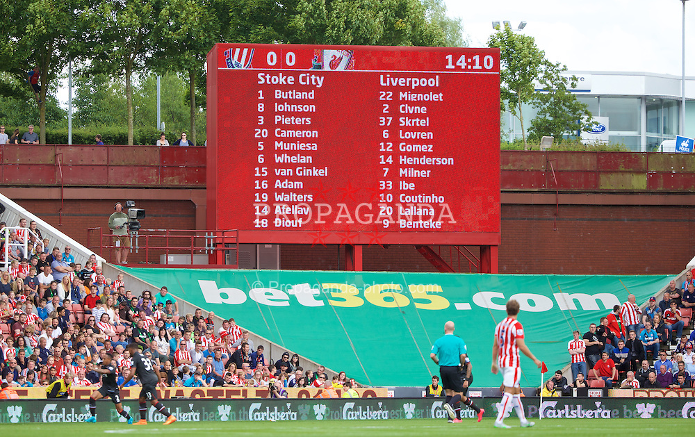 STOKE-ON-TRENT, ENGLAND - Sunday, August 9, 2015: Liverpool first team of the season is shown on the score board during the Premier League match against Stoke City at the Britannia Stadium. (Pic by David Rawcliffe/Propaganda)