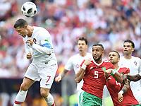 v.l. Cristiano Ronaldo (Portugal), Mehdi Benatia, Manuel da Costa<br /> Moskau, 20.06.2018, FIFA Fussball WM 2018 in Russland, Vorrunde, Portugal - Marokko 1:0<br /> Norway only