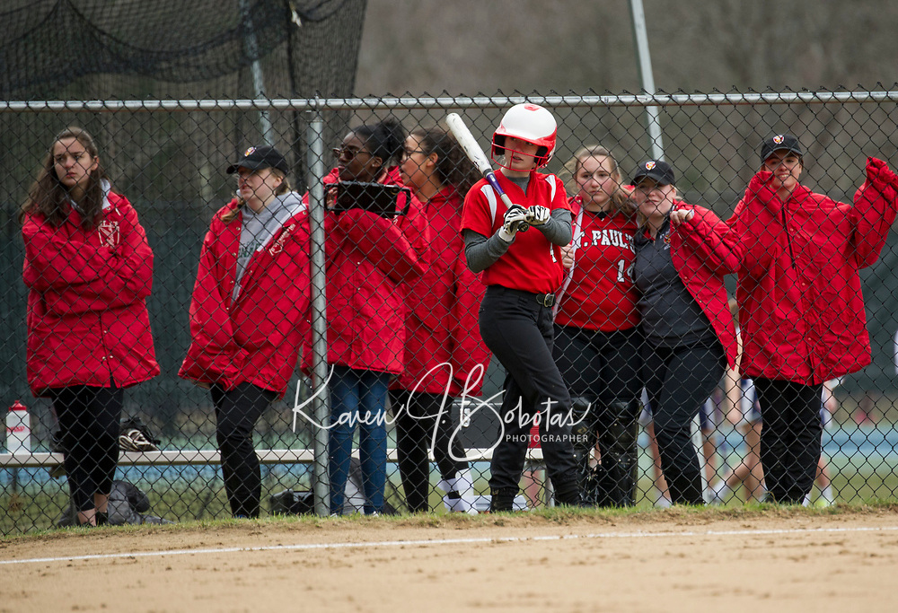 St Paul's School varsity softball.  ©2018 Karen Bobotas Photographer