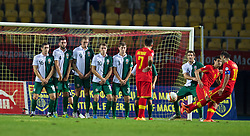 SKOPJE, MACEDONIA - Friday, September 6, 2013: Wales' Andrew Crofts, Joe Ledley, Jack Collison, Aaron Ramsey and Ben Davies form a wall as Macedonia's captain Goran Pandev takes a free-kick during the 2014 FIFA World Cup Brazil Qualifying Group A match at the Philip II Arena. (Pic by David Rawcliffe/Propaganda)