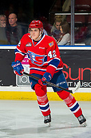KELOWNA, BC - MARCH 13: Egor Arbuzov #42 of the Spokane Chiefs warms up on the ice against the Kelowna Rockets at Prospera Place on March 13, 2019 in Kelowna, Canada. (Photo by Marissa Baecker/Getty Images)