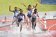 Norah Jeruto (KEN) front left, leads Hyvin Kiyeng (KEN) right, in the women's steeplechase during the Birmingham Grand Prix, Sunday, Aug 18, 2019, in Birmingham, United Kingdom. (Steve Flynn/Image of Sport)