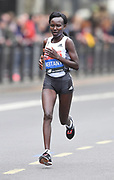 Mary Keitany (KEN) places fifth in the women's race in 2:20:58 at the 39th London Marathon in London, Sunday, April 28, 2019. (Jiro Mochizuki/Image of Sport)