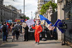 © Licensed to London News Pictures. 17/06/2019. London, UK. An anti-Brexit protester dressed as a clown and wearing a Boris Johnson mask stands outside Parliament as candidates for Leader of the Conservative Party take part in hustings before MPs. A second round of voting on the new leader will take place tomorrow. Photo credit: Rob Pinney/LNP