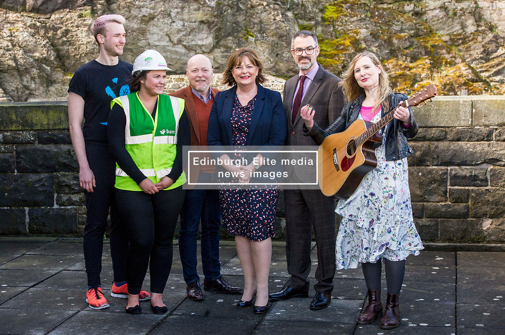 EMBARGOED UNTIL 00:01 3 APRIL 2017  FREE TO USE  FREE TO USE FREE TO USE<br /> Pictured: Sam Beckett, Y Dance, Laura Wilson, BAM construction, David Watt, Chief Executive Arts and Business Scotland, Fiona Hyslop, Brian Inkster, Inkster Solicitors, and Lousie Quinn, Tromolo Productions <br /> On Friday, Culture Secretary Fiona Hyslop visited Edinburgh Castle and launched the Culture & Business Fund Scotland. Funded by the Scottish Government via Creative Scotland and Historic Environment Scotland the fund will encourage the development of arts, heritage and business partnerships<br /> <br /> Ger Harley | EEm 31 March 2017