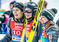 25.02.2019, Seefeld, AUT, FIS Weltmeisterschaften Ski Nordisch, Seefeld 2019, Skisprung, Damen, Teambewerb, Wertungssprung, im Bild v.l. Anna Odine Stroem (NOR), Silje Opseth (NOR), Ingebjoerg Saglien Braaten (NOR) // f.l. Anna Odine Stroem Silje Opseth and Ingebjoerg Saglien Braaten of Norway during the competition jump for the ladie's skijumping HS109 team competition of FIS Nordic Ski World Championships 2019. Seefeld, Austria on 2019/02/25. EXPA Pictures © 2019, PhotoCredit: EXPA/ Stefan Adelsberger