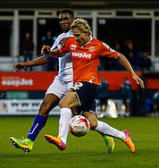 Scott Griffiths of Luton Town (front) is chased down by Tom Soares of Bury (rear) during the Sky Bet League 2 match at Kenilworth Road, Luton<br /> Picture by David Horn/Focus Images Ltd +44 7545 970036<br /> 19/08/2014