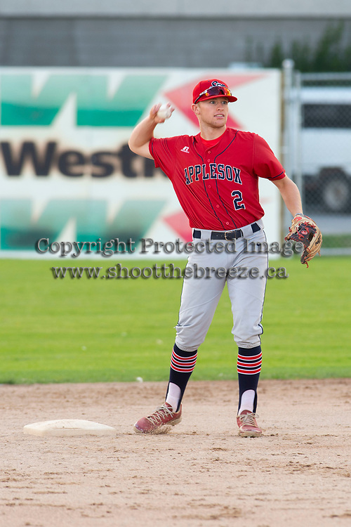 KELOWNA, BC - JULY 16:  Kodie Kolden #2 of the Wenatchee Applesox throws the ball from second base against the the Kelowna Falcons at Elks Stadium on July 16, 2019 in Kelowna, Canada. (Photo by Marissa Baecker/Shoot the Breeze)