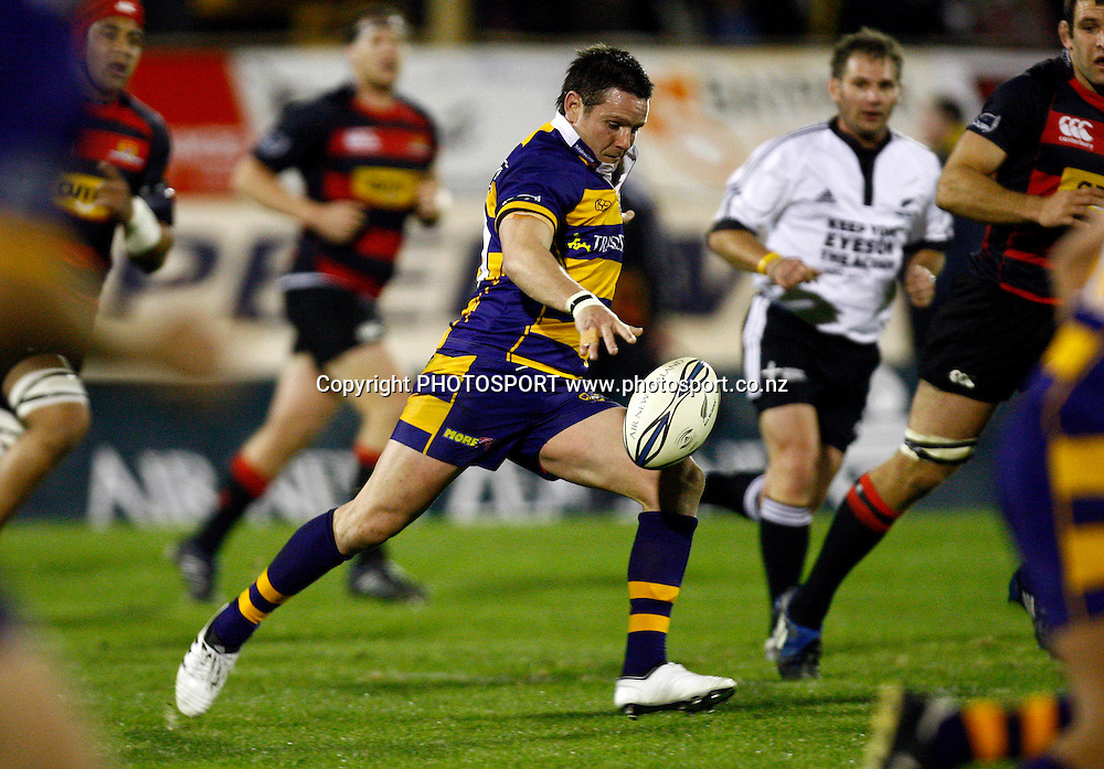 Bay first five Mike Delany puts in a kick, Air NZ Cup, NPC rugby union. Bay of Plenty v Canterbury. Bay Park Stadium, Mt Maunganui. 5 September 2009. Photo: William Booth/PHOTOSPORT