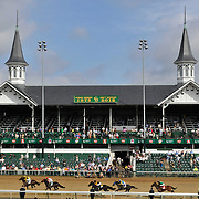 The finish of the first race at 10:30 a.m. at Churchill Downs on Kentucky Derby Day in Louisville, Kentucky May 5, 2012. The Derby is run at 6:24 p.m.