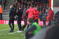 Football - 2018 / 2019 Premier League - AFC Bournemouth vs. Manchester United<br /> <br /> Bournemouth's Manager Eddie Howe looks on as the Manchester United bench celebrate there second goal at the Vitality Stadium (Dean Court) Bournemouth <br /> <br /> COLORSPORT/SHAUN BOGGUST