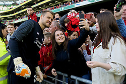 DUBLIN, REPUBLIC OF IRELAND - Saturday, August 5, 2017: Liverpool's goalkeeper Simon Mignolet poses for photographs with the supporters after a preseason friendly match between Athletic Club Bilbao and Liverpool at the Aviva Stadium. (Pic by David Rawcliffe/Propaganda)