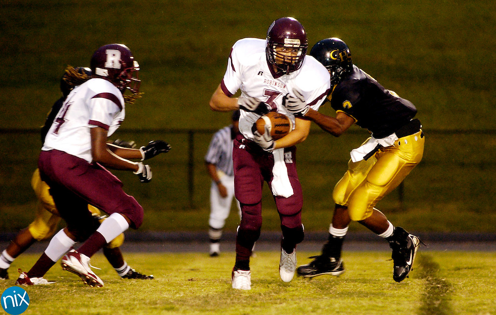 Jay M. Robinson's Zach Fandl carries the ball against Concord High School Friday, September 5, 2008. Concord won the game 16-14. Concord won the game 16-14. (photo by James Nix)