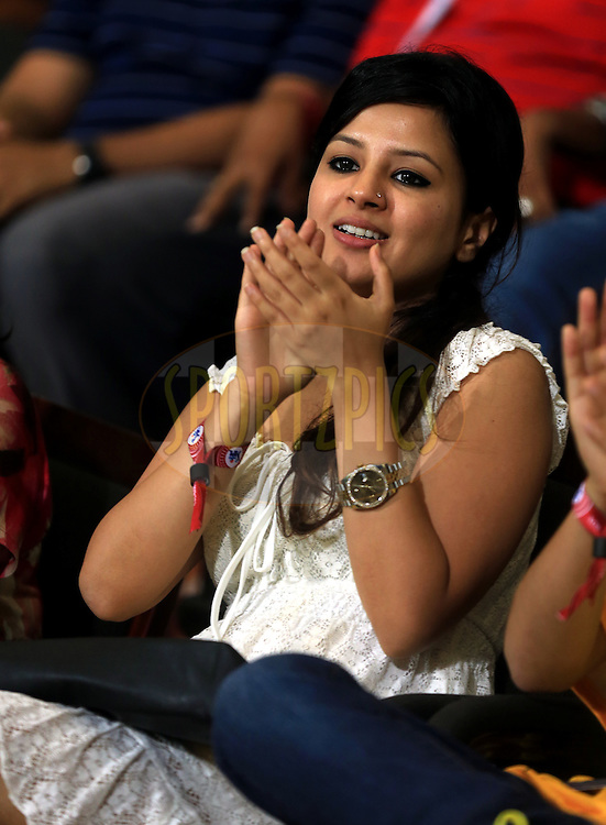 Sakshi Dhoni, wife of Chennai Super Kings skipper Mahendra Singh Dhoni during match 8 of the Pepsi Indian Premier League 2014 between the Chennai Superkings and The Delhi Daredevils held at the Zayed Cricket Stadium, Sharjah, United Arab Emirates on the 21st April 2014<br /> <br /> Photo by Sandeep Shetty / IPL / SPORTZPICS