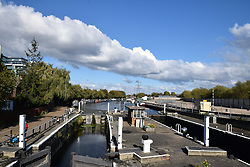 River Lea navigation, Tottenham Hale, North London UK October 2018