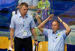Dalibor Damjanovic, assistant coach of Slovenia and Zmago Sagadin, head coach of Slovenia during basketball match between National teams of Sweden and Slovenia in First Round of U20 Men European Championship Slovenia 2012, on July 13, 2012 in Domzale, Slovenia. (Photo by Vid Ponikvar / Sportida.com)