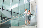 Businesswomen conversing while having coffee on steps in office