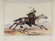 Chilean Gaucho (huaso, Guazo or Cowboy) riding a galloping horse and swinging bolas over his head.in Chile [Un guazo. (Au Chili.)] Hand sketched From the book 'Voyage dans l'Amérique Méridionale' [Journey to South America: (Brazil, the eastern republic of Uruguay, the Argentine Republic, Patagonia, the republic of Chile, the republic of Bolivia, the republic of Peru), executed during the years 1826 - 1833] 3rd volume By: Orbigny, Alcide Dessalines d', d'Orbigny, 1802-1857; Montagne, Jean François Camille, 1784-1866; Martius, Karl Friedrich Philipp von, 1794-1868 Published Paris :Chez Pitois-Levrault et c.e ... ;1835-1847