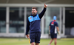 England's James Anderson during the nets session at Lord's, London.