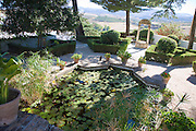 Pond plants trees in garden Casa del Rey Moro, Ronda, Spain