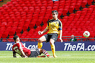 Byron Mason of Sholing is fouled by Andrew Green of West Auckland during the FA Vase match at Wembley Stadium, London<br /> Picture by David Horn/Focus Images Ltd +44 7545 970036<br /> 10/05/2014