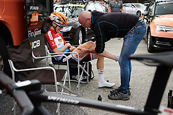Christine Majerus (LUX) gets a massage at Ladies Tour of Norway 2018 Stage 1, a 127.7 km road race from Rakkestad to Mysen, Norway on August 17, 2018. Photo by Sean Robinson/velofocus.com