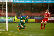 Crawley Town goalkeeper Glenn Morris (1) saves a shot during the EFL Sky Bet League 2 match between Crawley Town and Grimsby Town FC at the Checkatrade.com Stadium, Crawley, England on 10 February 2018. Picture by Andy Walter.