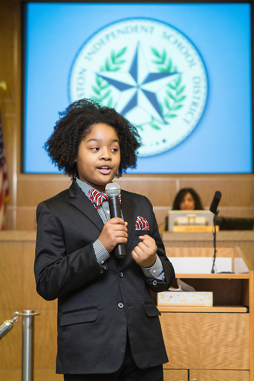 Amari Venzor of Cornelius Elementary School performs during the HISD Board Meeting on February 14, 2014.