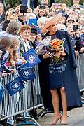 Koningin Maxima tijdens de viering van driehonderd jaar brouwerij Bavaria. Het bedrijf wordt geleid door de zevende generatie van de familie Swinkels.<br /> <br /> Queen Maxima during the celebration of Bavaria's brewery 300-year anniversary. The company is run by the seventh generation of the Swinkels family.