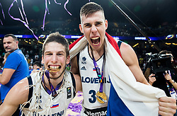Aleksej Nikolic of Slovenia and Goran Dragic of Slovenia celebrating at Trophy ceremony after winning during the Final basketball match between National Teams  Slovenia and Serbia at Day 18 of the FIBA EuroBasket 2017 when Slovenia became European Champions 2017, at Sinan Erdem Dome in Istanbul, Turkey on September 17, 2017. Photo by Vid Ponikvar / Sportida