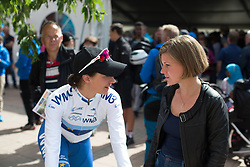 Marianne Vos (NED) of WM3 Pro Cycling Team chats to the recently retired Swedish rider, Emma Johansson after the Crescent Vargarda - a 152 km road race, starting and finishing in Vargarda on August 13, 2017, in Vastra Gotaland, Sweden. (Photo by Balint Hamvas/Velofocus.com)