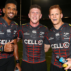 DURBAN, SOUTH AFRICA - APRIL 21: Hyron Andrews of the Cell C Sharks with Jacques Vermeulen of the Cell C Sharks and Philip van der Walt of the Cell C Sharks during the Super Rugby match between Cell C Sharks and DHL Stormers at Jonsson Kings Park on April 21, 2018 in Durban, South Africa. (Photo by Steve Haag/Gallo Images)