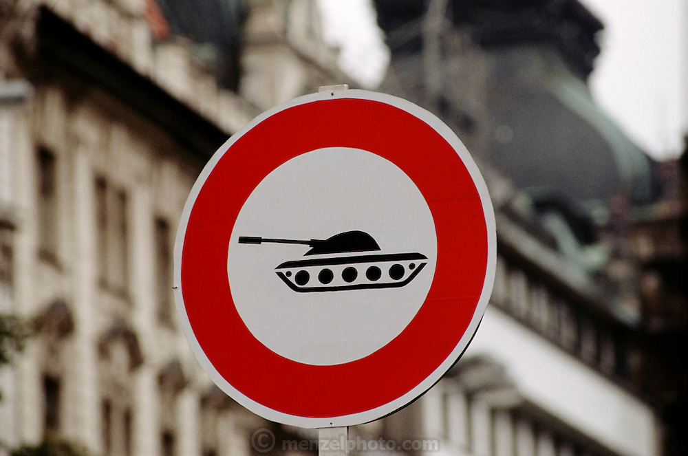Prague, Czech Republic. Sign banning tanks from entering the old part of town.