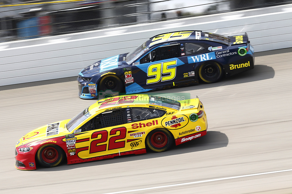 August 12, 2018 - Brooklyn, Michigan, United States of America - Joey Logano (22) and Kasey Kahne (95) battle for position during the Consumers Energy 400 at Michigan International Speedway in Brooklyn, Michigan. (Credit Image: © Chris Owens Asp Inc/ASP via ZUMA Wire)