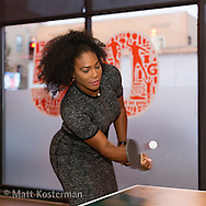 Serena Williams plays Ping Pong at the Gatorade 50th Anniversary celebration at Venue One, Chicago, Illinois.
