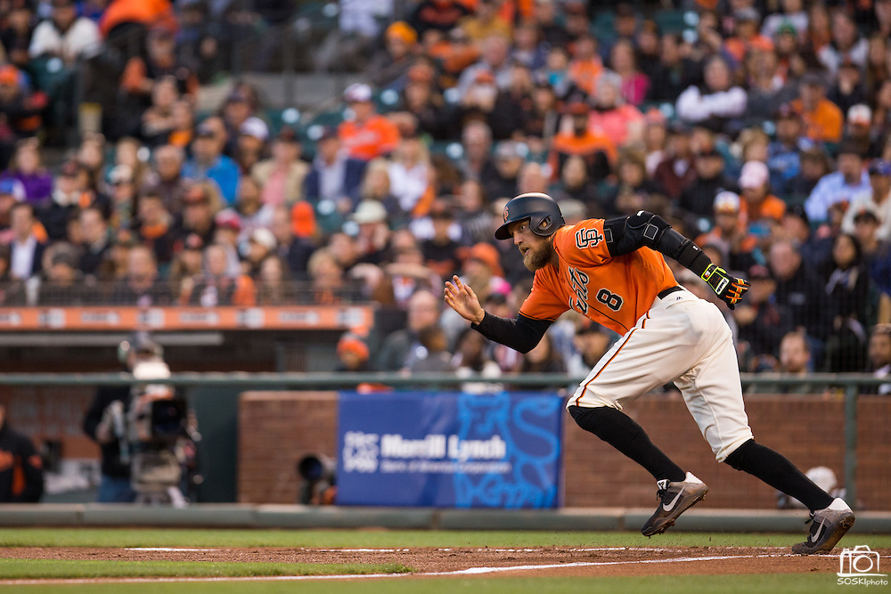 San Francisco Giants right fielder Hunter Pence (8) runs to first base after hitting against the Baltimore Orioles at AT&T Park in San Francisco, Calif., on August 12, 2016. (Stan Olszewski/Special to S.F. Examiner)