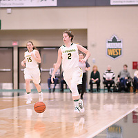3rd year guard Michaela Kleisinger (2) of the Regina Cougars during the Women's Basketball home game on January 5 at Centre for Kinesiology, Health and Sport. Credit: Arthur Ward/Arthur Images