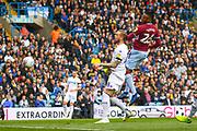 Jonathan Kodjia of Aston Villa (26) heads towards goal during the EFL Sky Bet Championship match between Leeds United and Aston Villa at Elland Road, Leeds, England on 28 April 2019.
