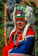 Tlingit indian in ceremonial dress