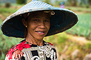 Portrait of woman working at sawah field in Preanger highlands of west Java