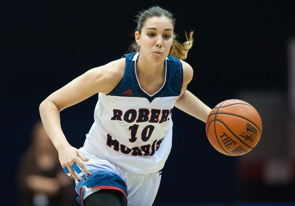 March 6 2016: Robert Morris Colonials guard Rebeca Navarro (10) handles the ball during the second half in the NCAA Women's Basketball game between the Fairleigh Dickinson Lady Knights and the Robert Morris Colonials at the Charles L. Sewall Center in Moon Township, Pennsylvania (Photo by Justin Berl)