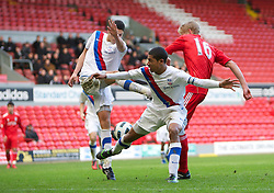LIVERPOOL, ENGLAND - Saturday, January 8th, 2011: Liverpool's Kristjan Emilsson scores the equalising goal against Crystal Palace during the FA Youth Cup match at Anfield. (Photo by David Tickle/Propaganda)