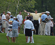 Jun 26, 2006; Gaylord MI; USA; 2005 shootout champion Andy North poses for cameras prior to the start of the 2006 ING Par-3 Shootout at Treetops Resort in Gaylord Michigan.