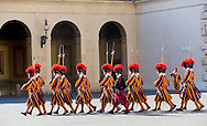Vatican, 09-03-2015<br /> <br /> <br /> Swiss guards at the Cortile San Damaso<br /> <br /> Photo: Bernard Ruebsamen/Royalportraits Europe