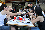 Israel, Golan Heights, The Druze vilege Massade Israeli Tourists enjoy a meal at the local restaurant