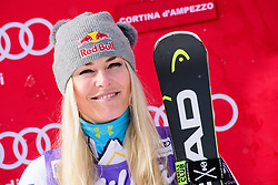 January 19, 2018 - Cortina D'Ampezzo, Dolimites, Italy - Lindsey Vonn of United States of America on podium celebrating her second place at the Cortina d'Ampezzo FIS World Cup in Cortina d'Ampezzo, Italy. (Credit Image: © Rok Rakun/Pacific Press via ZUMA Wire)